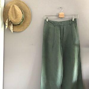 Sage Linen Cropped Pants